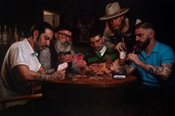 Poker Night at Thy Barber by Vincent Kamp - Varnished Original Painting on Box Canvas sized 59x39 inches. Available from Whitewall Galleries